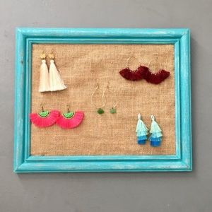 Jewelry - Teal and Burlap Frame Earring/Jewelry Holder